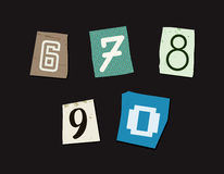 Colorful Newspaper Cut Numbers Set Royalty Free Stock Images