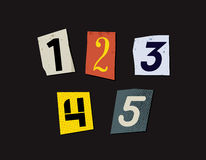Colorful Newspaper Cut Numbers Set Royalty Free Stock Image