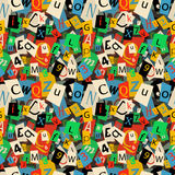 Colorful newspaper letters, seamless pattern Stock Photos