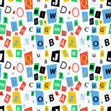 Colorful newspaper letters, seamless pattern Royalty Free Stock Photos