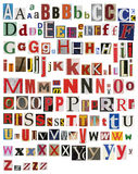 Colorful, newspaper, magazine alphabet. Colorful newspaper magazine alphabet, different size letters Stock Image