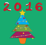 2016 colorful newyear tree Royalty Free Stock Photo