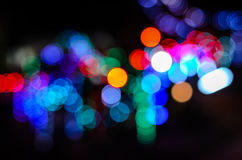 Colorful night bokeh background in the city street. Light bokeh background in the city street Stock Photo