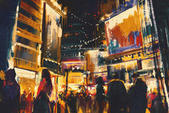 Colorful of night city. Digital painting Royalty Free Stock Photography