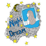 Colorful Night dream lettering with sleeping girl Royalty Free Stock Images