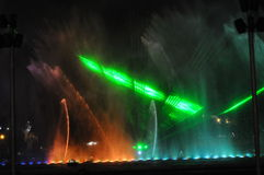 Colorful night fountains in Lima Peru. Royalty Free Stock Photography