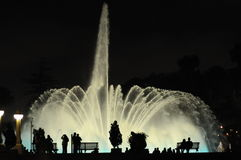 Colorful night fountains in Lima Peru. Stock Image