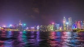 Colorful night illumination hong kong boat ride bay panorama 4k time lapse china. China colorful night illumination hong kong boat ride bay panorama 4k time stock footage
