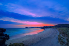 Colorful night landscape of famous Oldshoremore beach in Norther Stock Photos