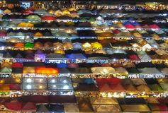 Night market from above in Bangkok. Colorful night market and street food from above in Bangkok stock photos