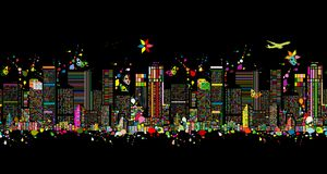 Colorful night metropolis, seamless pattern for your design stock images