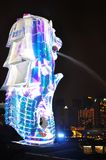 The Merlion statue and the night scene of Marina Bay on new year eve Royalty Free Stock Images
