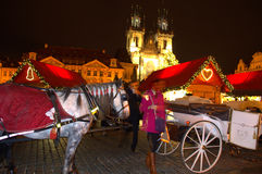 Colorful night Prague square  Stock Photo