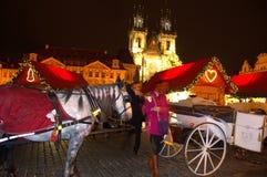 Colorful night Prague square  Stock Photo
