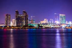 Colorful Night in San Diego. San Diego, California Part of the Skyline at Night stock photos