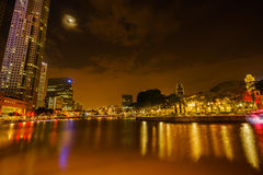 Colorful night scene and Light Building. With cloudy sky. Light build and reflection on the river Stock Images