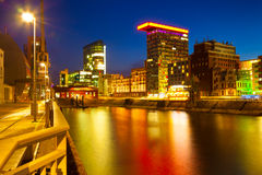 Colorful night scene of Rhein river at night in Dusseldorf Royalty Free Stock Images