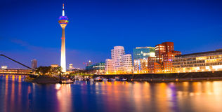 Colorful night scene of Rhein river at night in Dusseldorf Royalty Free Stock Image