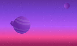 Colorful night skies with planet space Royalty Free Stock Image