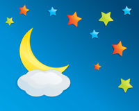 Colorful Night Sky. With moon stars and cloud Royalty Free Stock Photography