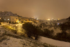 Colorful night snowy foggy Prague City, Czech republic Stock Images