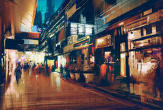 Colorful night street.illustration. Colorful painting of night street.illustration Stock Image