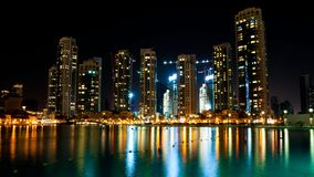 Colorful night view of city. Of Dubai with modern downtown buildings Royalty Free Stock Images