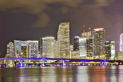 Colorful night view of city of Miami Florida Royalty Free Stock Photos