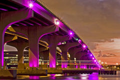 Colorful night view of city of Miami Florida Stock Photography