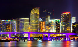Colorful night view of city of Miami Florida royalty free stock image