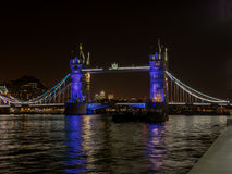 Colorful night view of the Tower Bridge in London Stock Images