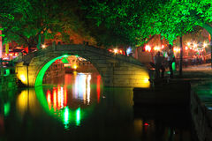 Colorful night -water township tongli Royalty Free Stock Image