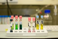 Colorful Nitrate Bottles inside Laboratory Royalty Free Stock Image