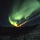 Colorful northern lights display. 120 format slide scan Royalty Free Stock Photo