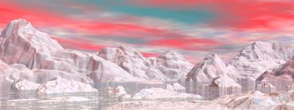 Colorful northern sky - 3D render. Landscape of northen nature with white icebergs melting in water by colorful sunset sky Stock Photo