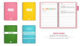 Colorful note books Vector realistic. 3d detailed illustrations. Colorful note books Vector realistic. 3d detailed illustration royalty free illustration
