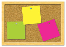 Colorful note paper on a cork board Stock Images