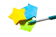 Colorful Note Paper and Pen Stock Photo