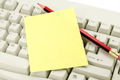 Colorful notepaper and keyboard Stock Image