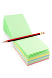 Colorful notepaper and pencil Stock Image