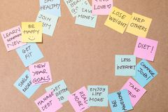 Colorful of notes with hand writing of positive attitude words stock photo