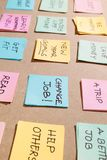 Colorful of notes with hand writing of positive attitude words.  royalty free stock photo