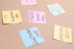 Colorful of notes with hand writing of positive attitude words.  royalty free stock photography