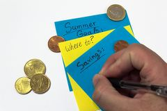 Colorful notes. saving money for summer. planning finances. hand writing down expenses royalty free stock image
