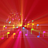 Colorful notes sheet music glowing Royalty Free Stock Photography