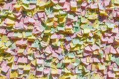 Colorful notes on a wall Royalty Free Stock Photo
