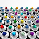 Colorful nozzles from aerosol cans Stock Images