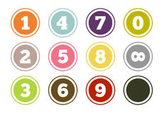 Colorful number buttons set. Set of 12 isolated colorful buttons with numbers - from zero to infinity and one blank Royalty Free Stock Photos