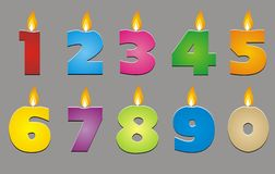 Colorful number candles (0-9) Stock Photos