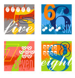 Colorful number designs set 2. Illustrated number counting design elements Royalty Free Stock Image